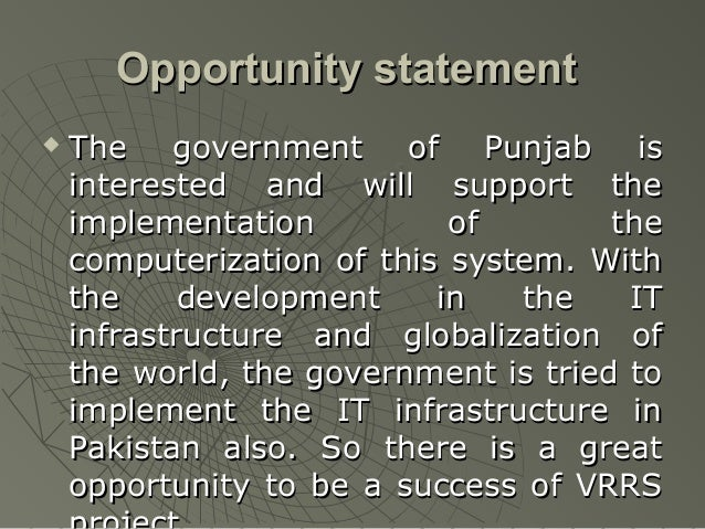 Opportunity statement   The government of Punjab is    interested and will support the    implementation          of     ...