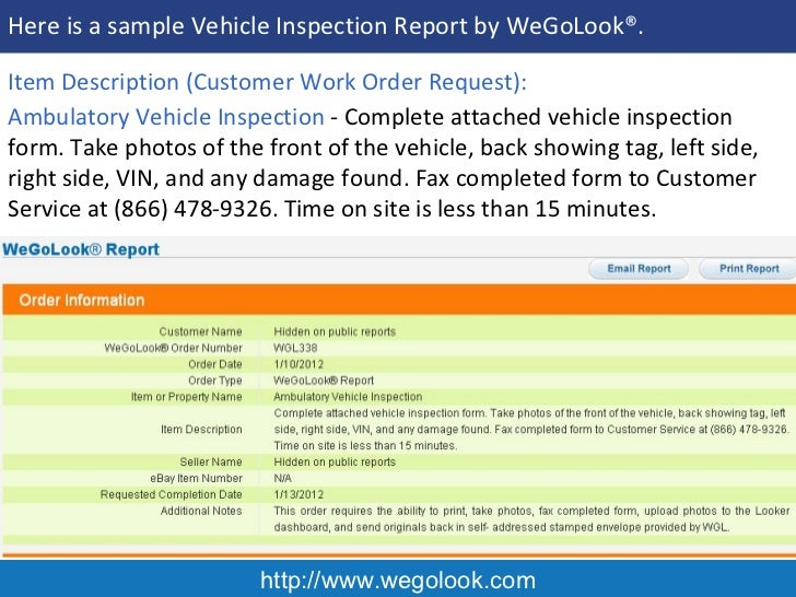 Onsite Vehicle Inspection  Sample Report