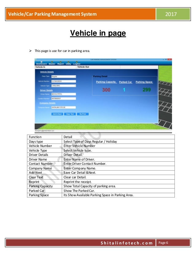 Vehiclecar Parking Management System User Manual By Shitalinfotech - Car show management software