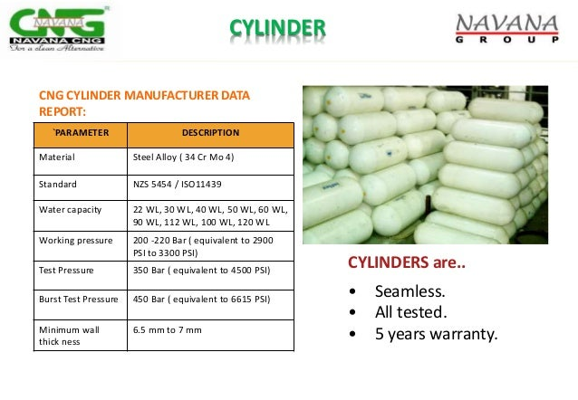 CYLINDERS are.. • Seamless. • All tested. • 5 years warranty. CYLINDER `PARAMETER DESCRIPTION Material Steel Alloy ( 34 Cr...