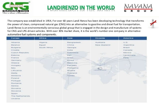 LANDIRENZO IN THE WORLD The company was established in 1954, For over 60 years Landi Renzo has been developing technology ...
