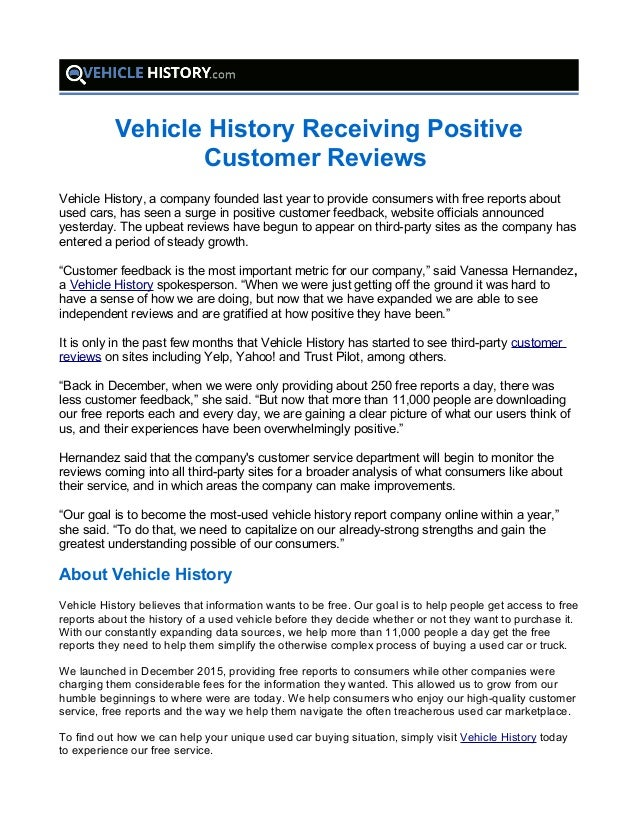 Free Vehicle History Report Online >> Vehicle History Receiving Positive Customer Reviews