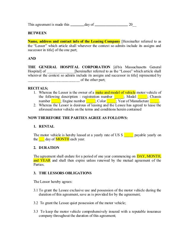 Vehicle Lease Agreement_Template