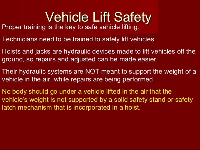 Auto Lift Safety : Ontap vehicle lift safety