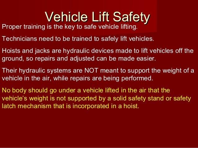 Automotive Lift Safety : Ontap vehicle lift safety