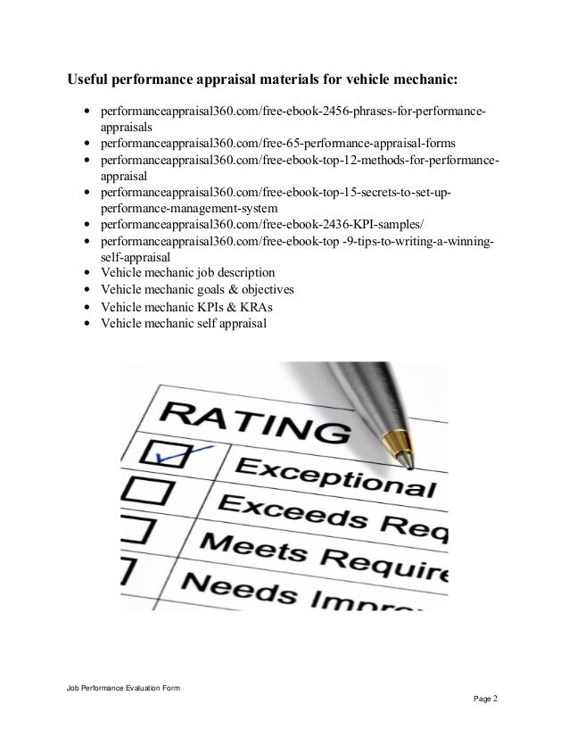 Vehicle mechanic performance appraisal
