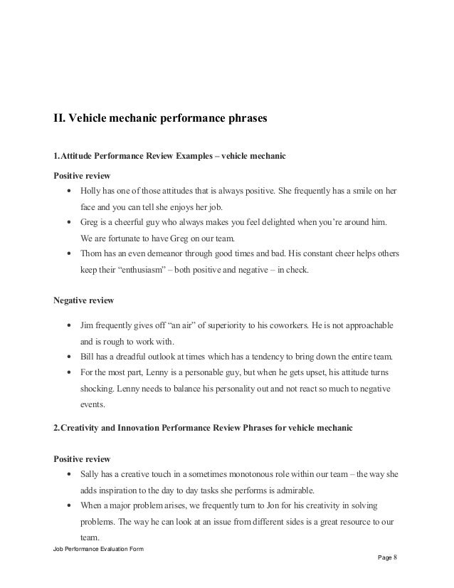 job performance evaluation form page 7 8 ii vehicle mechanic. Resume Example. Resume CV Cover Letter