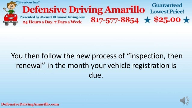 """You then follow the new process of """"inspection, then renewal"""" in the month your vehicle registration is due."""