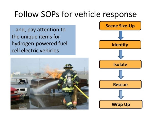 Follow SOPs for vehicle response …and, pay attention to the unique items for hydrogen-powered fuel cell electric vehicles ...