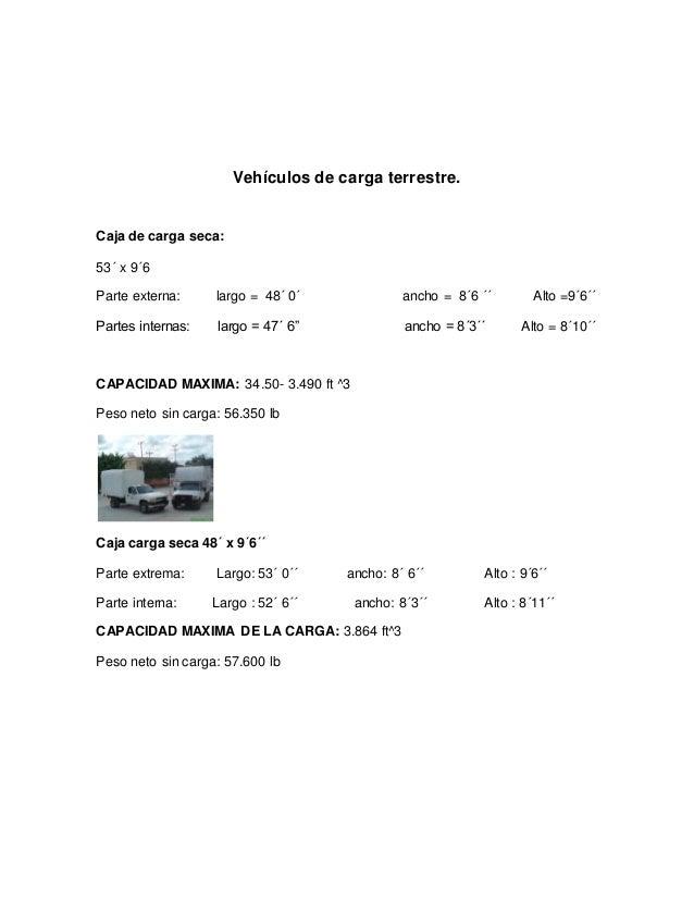 Vehículos de carga terrestre. Caja de carga seca: 53´ x 9´6 Parte externa: largo = 48´ 0´ ancho = 8´6 ´´ Alto =9´6´´ Parte...