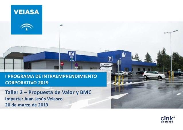 I PROGRAMA DE INTRAEMPRENDIMIENTO CORPORATIVO 2019 Taller 2 – Propuesta de Valor y BMC Imparte: Juan Jesús Velasco 20 de m...