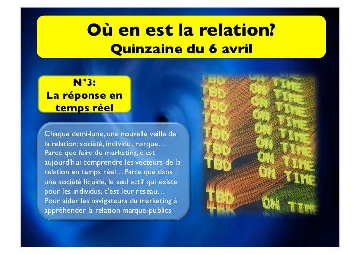 Où en est la relation?                     Quinzaine du 6 avril     N°3: La réponse en temps réelChaque demi-lune, une...