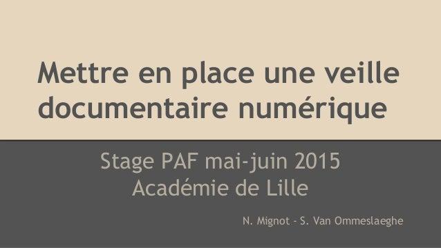 Mettre en place une veille documentaire numérique Stage PAF mai-juin 2015 Académie de Lille N. Mignot - S. Van Ommeslaeghe