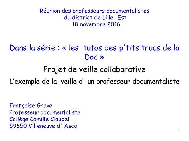 Réunion des professeurs documentalistes du district de Lille -Est 18 novembre 2016 Dans la série : « les tutos des p'tits ...