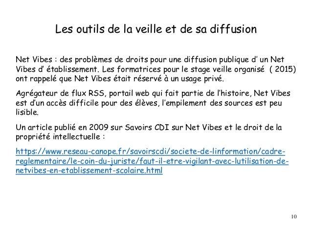 Les outils de la veille et de sa diffusion Net Vibes : des problèmes de droits pour une diffusion publique d' un Net Vibes...