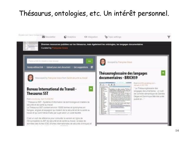 Thésaurus, ontologies, etc. Un intérêt personnel. 14