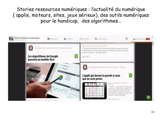 Stories ressources numériques : l'actualité du numérique ( applis, moteurs, sites, jeux sérieux), des outils numériques po...
