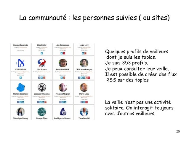 La communauté : les personnes suivies ( ou sites) Quelques profils de veilleurs dont je suis les topics. Je suis 353 profi...