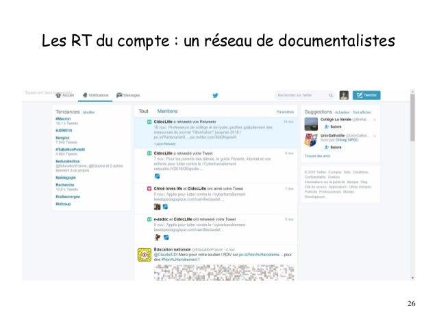 Les RT du compte : un réseau de documentalistes 26