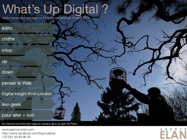 What's Up Digital ?Veille numérique de l'Agence ELAN // semaine du 14 avril 2011éditochiffreinfosupdownpenser le WebDigita...