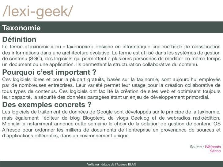 /lexi-geek/TaxonomieDéfinitionLe terme «taxinomie» ou «taxonomie» désigne en informatique une méthode de classifcation...