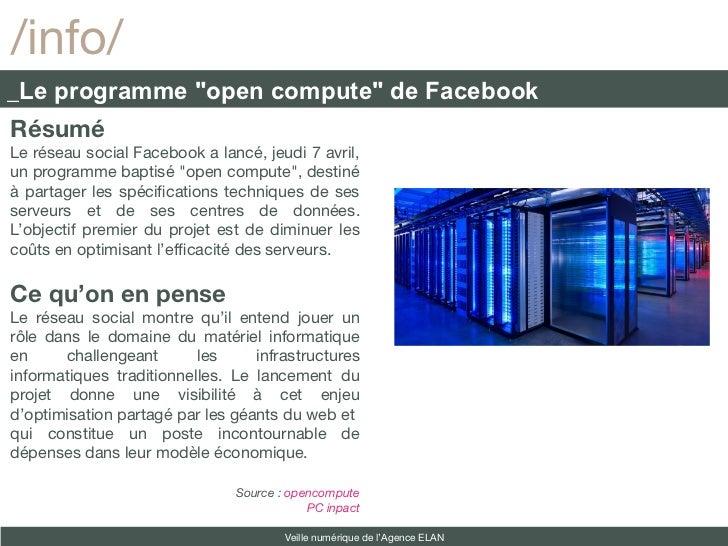"""/info/_Le programme """"open compute"""" de FacebookRésuméLe réseau social Facebook a lancé, jeudi 7 avril,un programme baptisé ..."""