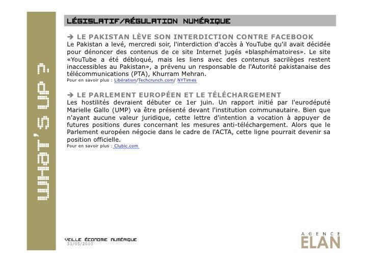 Veille economie numérique 31.05.2010 Slide 2