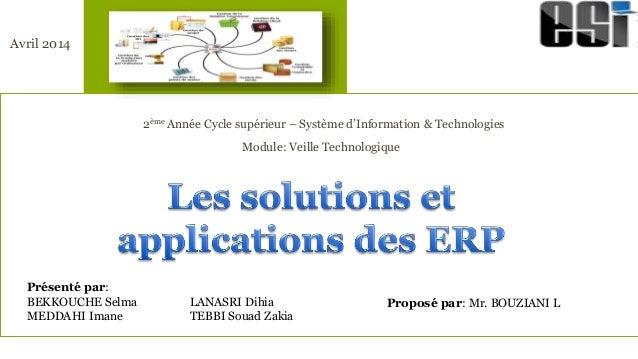 Disposition de titre Sous-titre 2ème Année Cycle supérieur – Système d'Information & Technologies Module: Veille Technolog...