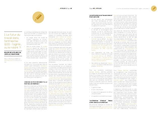 Articles Page 38  Page 39  ArticleS  Les entreprises se transforment pour survivre >> Ce qui ressort des témoignages de...