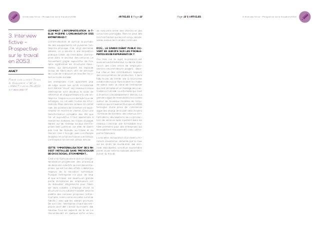 3. Interview fictive - Prospective sur le travail en 2053  3. Interview fictive Prospective sur le travail en 2053 anact  ...