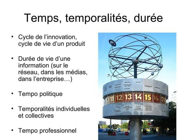 Temps, temporalités, durée • Cycle de l'innovation, cycle de vie d'un produit • Durée de vie d'une information (sur le rés...