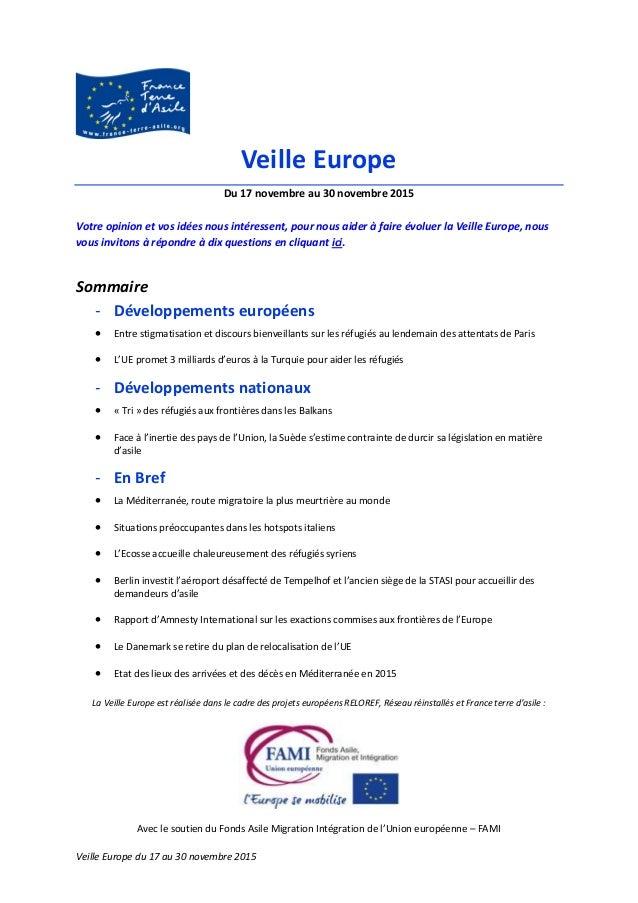 La Veille Europe est réalisée dans le cadre des projets européens RELOREF, Réseau réinstallés et France terre d'asile : Av...