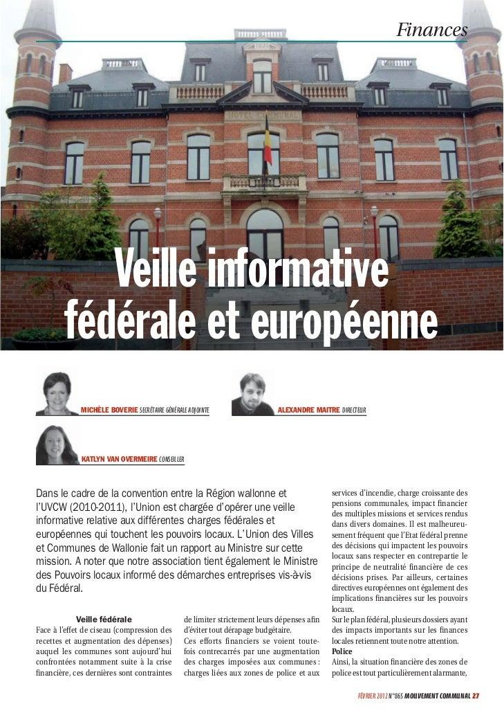 Finances            Veille informative         fédérale et européenne             MICHÈLE BOVERIE SECRÉTAIRE GÉNÉRALE ADJO...