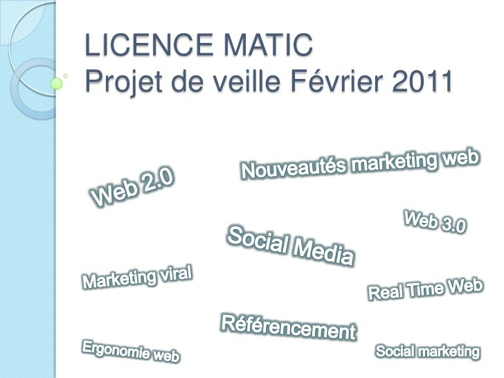 LICENCE MATICProjet de veille Février 2011<br />Nouveautés marketing web<br />Web 2.0<br />Web 3.0<br />Social Media<br />...