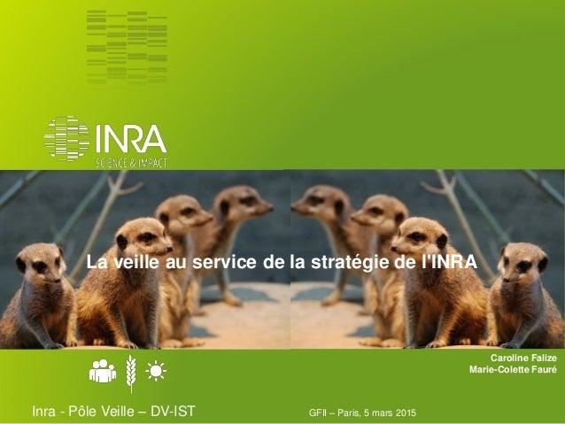 La veille au service de la stratégie de l'INRA GFII – Paris, 5 mars 2015Inra - Pôle Veille – DV-IST Caroline Falize Marie-...