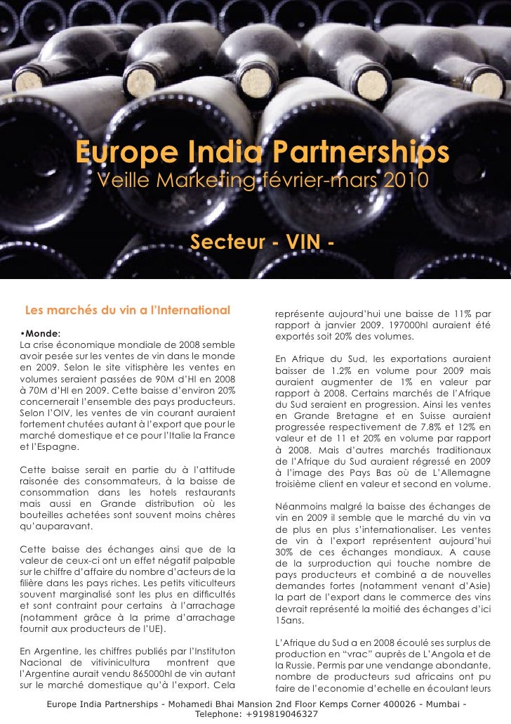 Europe India Partnerships                   Veille Marketing février-mars 2010                                            ...