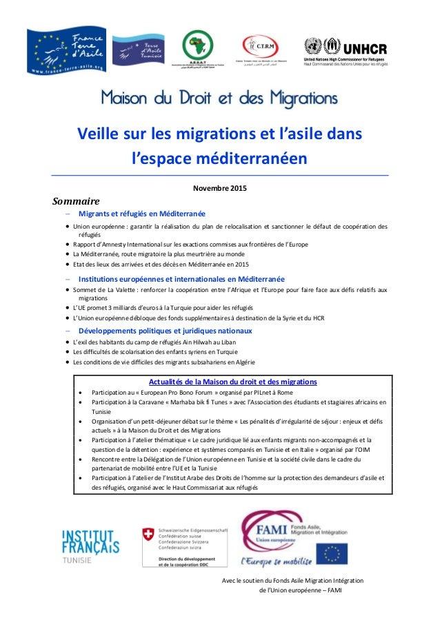 Avec le soutien du Fonds Asile Migration Intégration de l'Union européenne – FAMI Veille sur les migrations et l'asile dan...