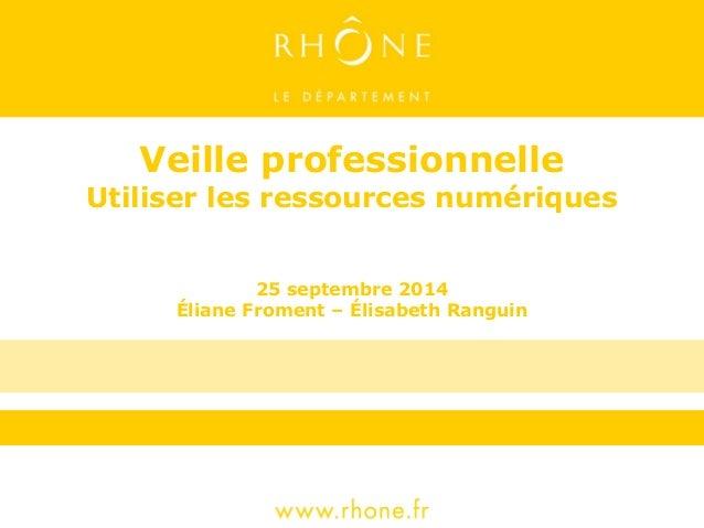 Veille professionnelle  Utiliser les ressources numériques  25 septembre 2014  Éliane Froment – Élisabeth Ranguin