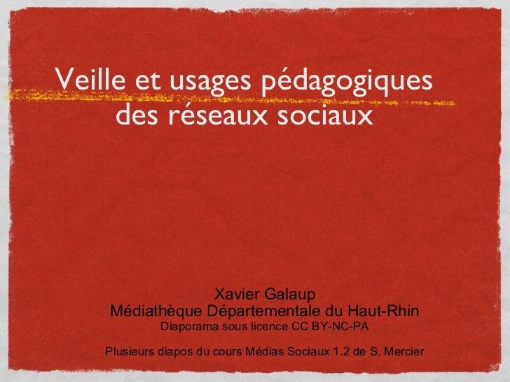 Veille et usages pédagogiques des réseaux sociaux <ul><li>Xavier Galaup </li></ul><ul><li>Médiathèque Départementale du Ha...