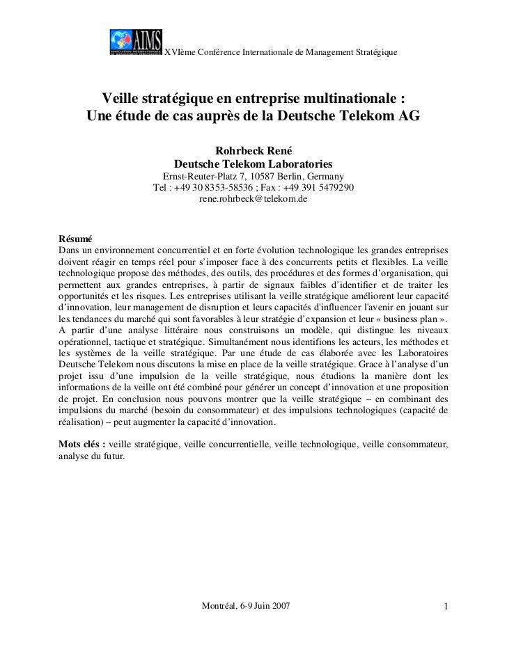 XVIème Conférence Internationale de Management Stratégique         Veille stratégique en entreprise multinationale :      ...
