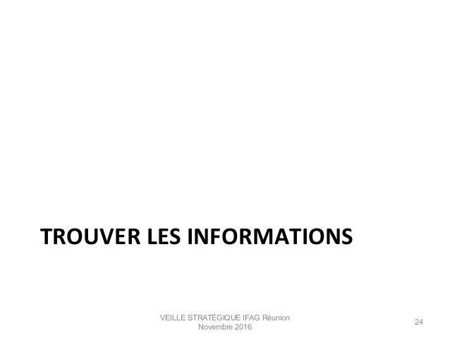 TROUVER  LES  INFORMATIONS   VEILLE STRATÉGIQUE IFAG Réunion Novembre 2016 24