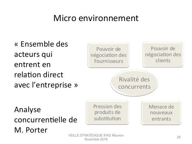 Micro  environnement   «  Ensemble  des   acteurs  qui   entrent  en   relaMon  direct   avec  l...