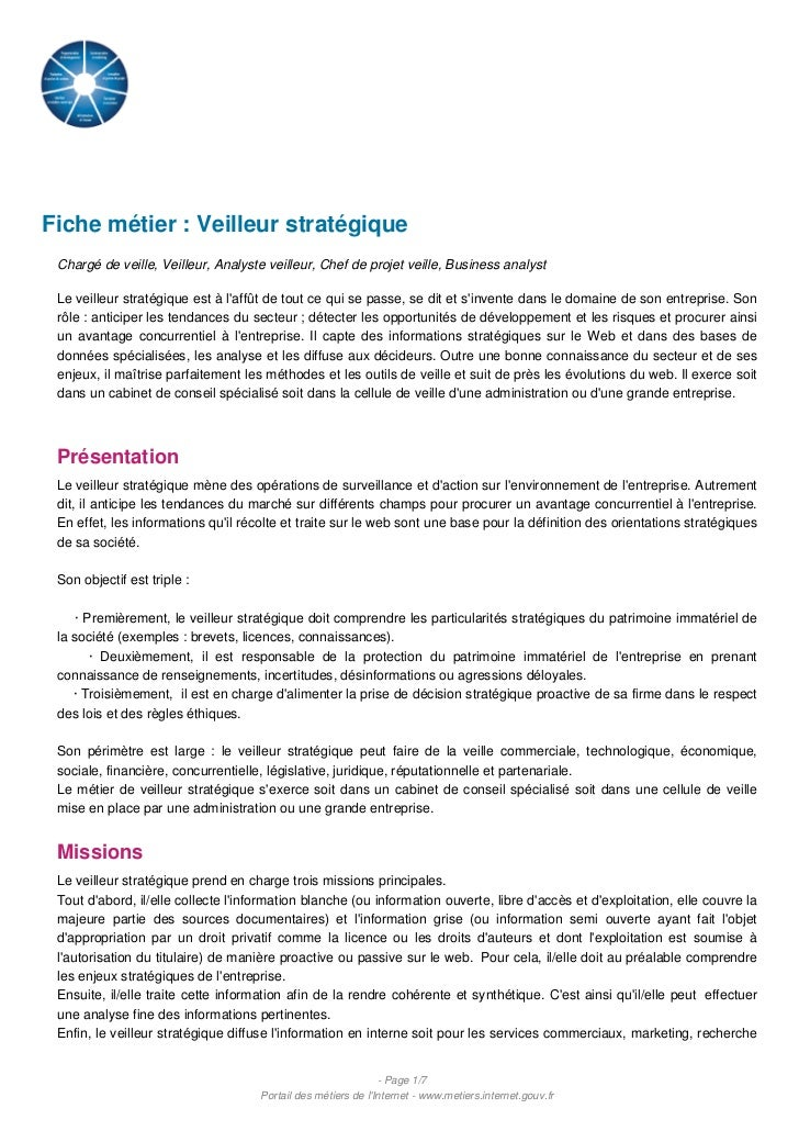 Fiche métier : Veilleur stratégique Chargé de veille, Veilleur, Analyste veilleur, Chef de projet veille, Business analyst...