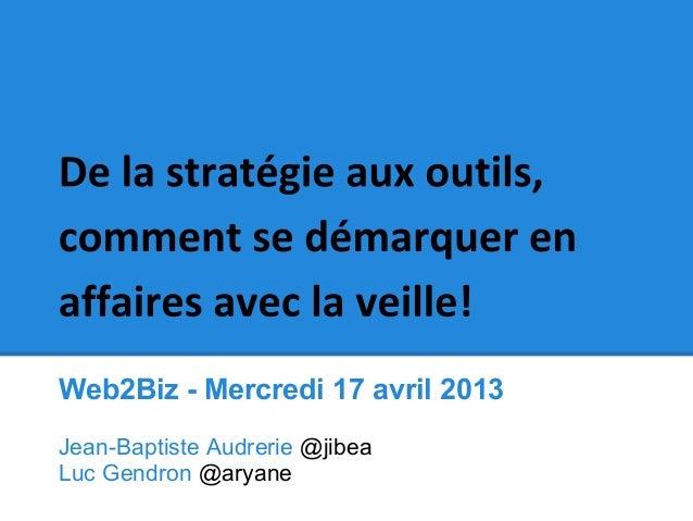 Web2Biz - Mercredi 17 avril 2013Jean-Baptiste Audrerie @jibeaLuc Gendron @aryane