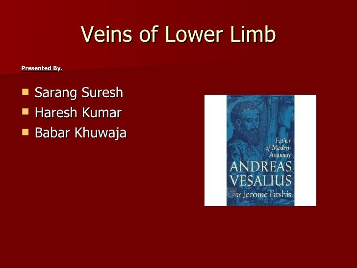 Veins of Lower LimbPresented By.   Sarang Suresh   Haresh Kumar   Babar Khuwaja