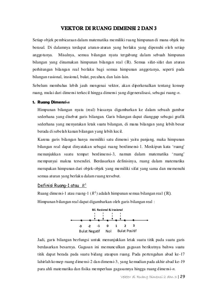 VEKTOR DI RUANG DIMENSI 2 DAN 3Setiap objek pembicaraan dalam matematika memiliki ruang himpunan di mana objek ituberasal....