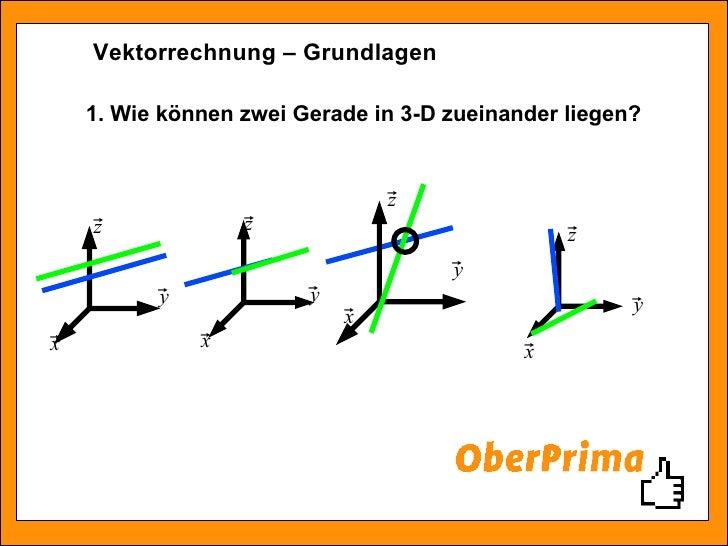 Vektorrechnung – Grundlagen 1. Wie können zwei Gerade in 3-D zueinander liegen?