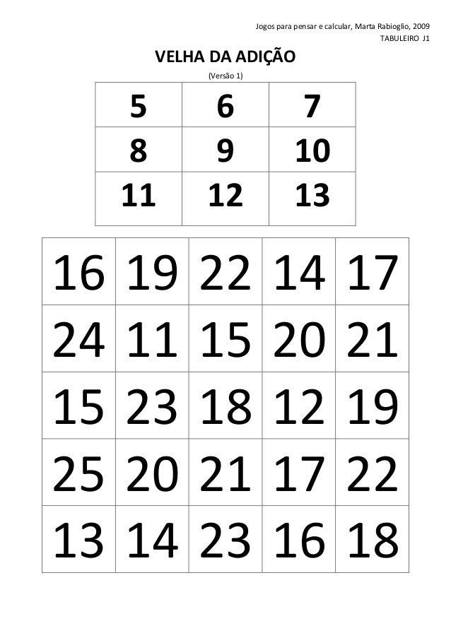 Jogos para pensar e calcular, Marta Rabioglio, 2009 TABULEIRO J1  VELHA DA ADIÇÃO (Versão 1)  5 8 11  16 24 15 25 13  6 9 ...