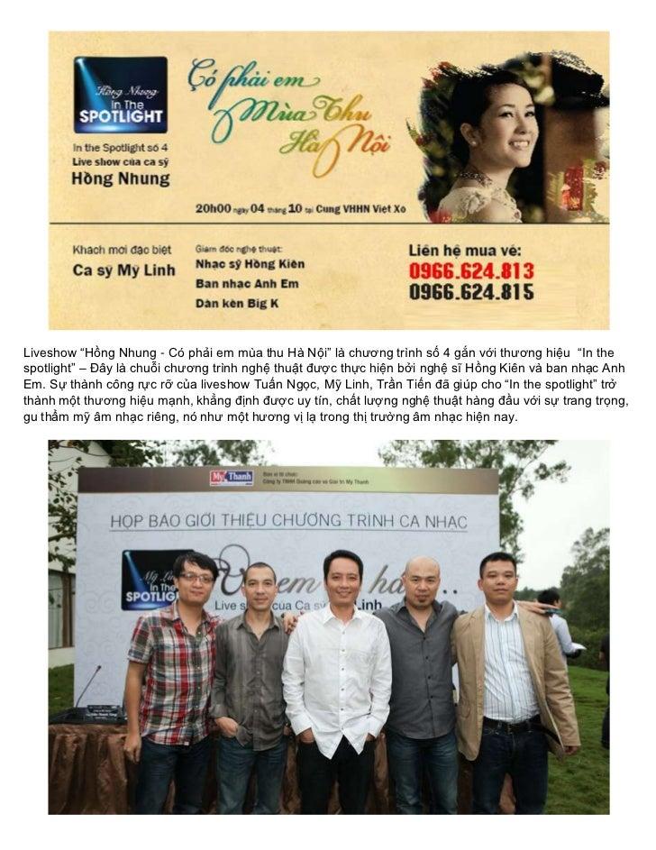 """Liveshow """"Hồng Nhung - Có phải em mùa thu Hà Nội"""" là chương trình số 4 gắn với thương hiệu """"In thespotlight"""" – Đây là chuỗ..."""