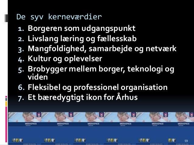 De syv kerneværdier 1. Borgeren som udgangspunkt 2. Livslang læring og fællesskab 3. Mangfoldighed, samarbejde og netværk ...